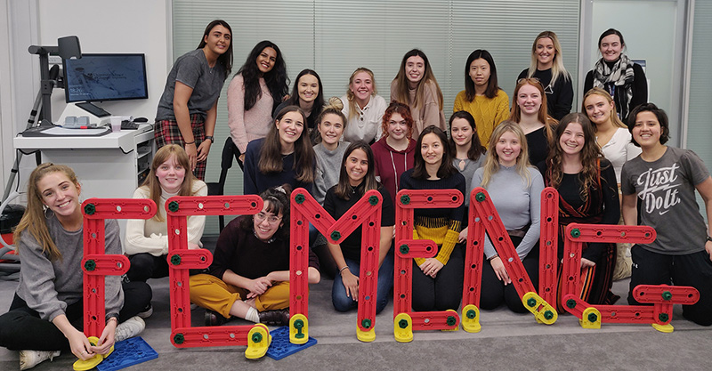 FemEng committee and members attending our Outreach Training last year (2019/20 - pre-COVID)