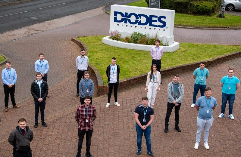 Diodes Apprentices outside their Greenock factory